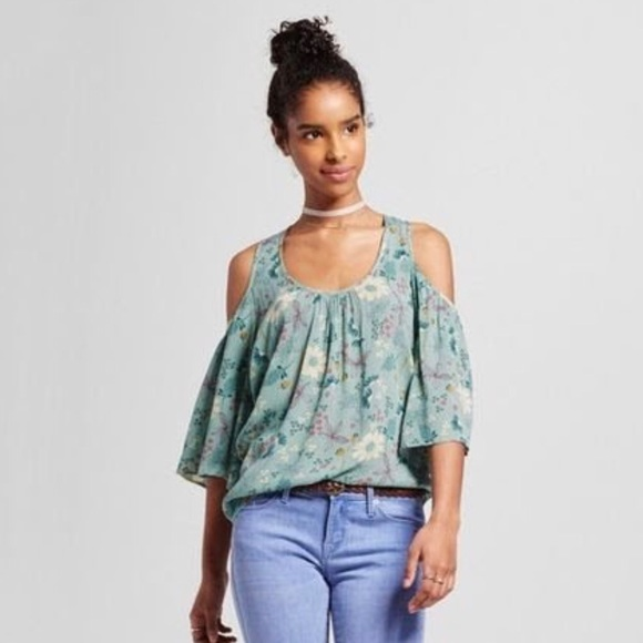 86d11fe30274fb Mossimo Supply Co. Tops | Mossimo Green Wildflower Cold Shoulder Top ...